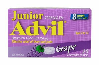 Advil JR Chewable Tablets 100mg Grape 20-Ages 2-12