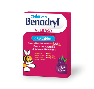 Children's Benadryl Allergy Chewables with Diphenhydramine HCl Antihistamine, Grape Flavor, 20 Count -Ages 6+