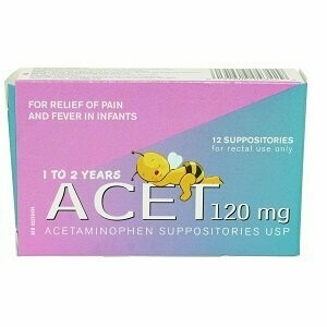 Acetaminophen 120mg Rectal Suppositories x12 [Children 1-2 years]
