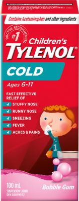 Tylenol Children's Cold Suspension Liquid Bubble Gum 100ML