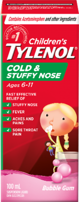 Tylenol Children's Cold & Stuffy Nose Bubble Gum 100ML