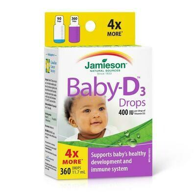 Jamieson Baby-D Vitamin D3 Drops 400IU/dropx360 Drops