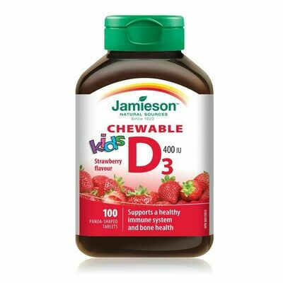 Jamieson Kids Chewable Vitamin D 400 IU Strawberry Tablets x 100