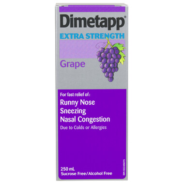 Dimetapp Extra Strength (250mL, Grape Flavour)