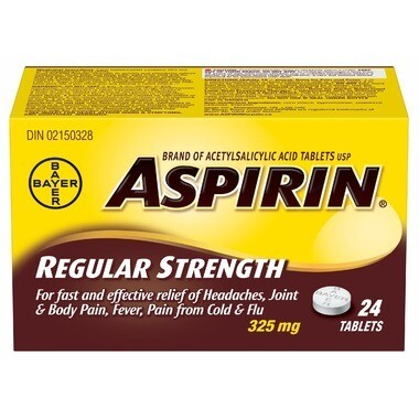 Aspirin 325mg Regular Strength 24 Tablets