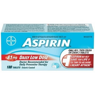 Aspirin 81mg Daily Low Dose 180 Tablets