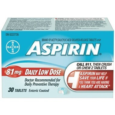 Aspirin 81mg Daily Low Dose [Pack Size: 30, 120 or 180 Tablets]