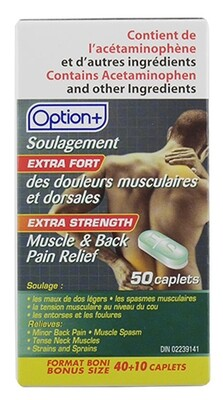 Option+ MUSCLE AND BACK EXTRA STRENGTH CAPLETS 40+10