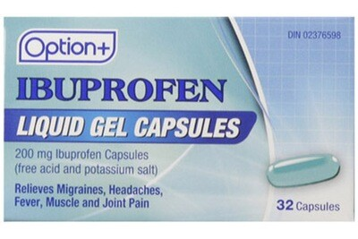 Option+ IBUPROFEN LIQUID GEL 200MG 32 [GENERIC BRAND]