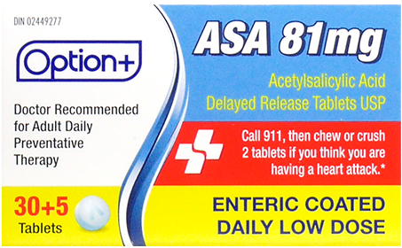 Option+ ASA 81MG LOW DOSE TABLETS 30+5 [Generic Aspirin]