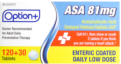 Option+ ASA 81MG LOW DOSE TABLETS 120+30 [Generic]