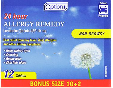 Option+ ALLERGY LORATADINE TAB 10MG 10+2 [GENERIC OF CLARITIN]