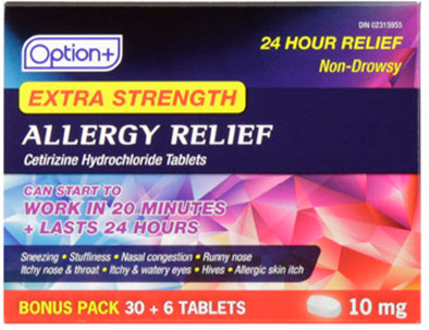 Option+ ALLERGY CETIRIZINE 10MG TABLETS 30+6 [GENERIC OF REACTINE]