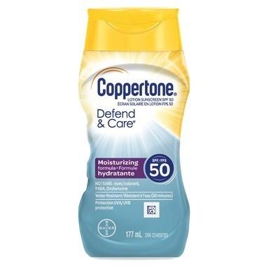 Coppertone Defend & Care Sunscreen Lotion SPF 50 177ML
