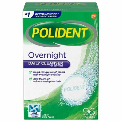 Polident Overnight Daily Denture Cleanser 96 TABS