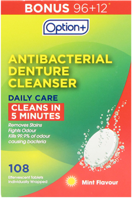 Option+ DENTURE CLEANSER ANTIBACTERIAL DAILY CARE 108