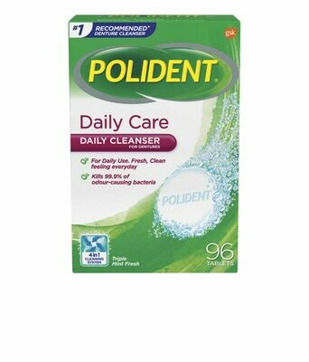 Polident Daily Care Denture Cleanser 96 TABS