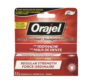 Orajel Regular Strength for Toothache Instant Pain Relief Gel, 5.3 g