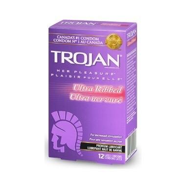 Trojan Her Pleasure Ultra Ribbed Lubricated Latex Condoms x12
