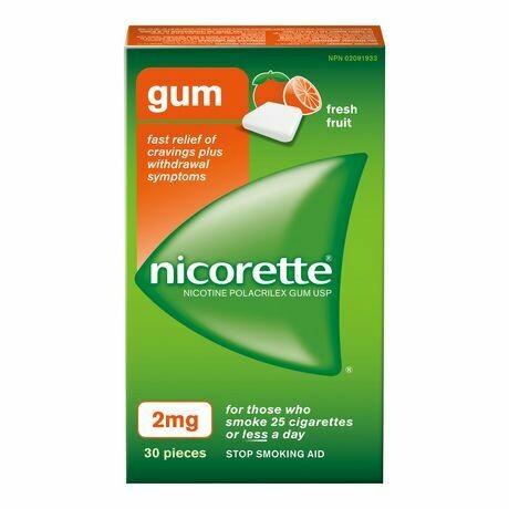 Nicorette Gum, Fresh Fruit, 2mg (30 Pieces)