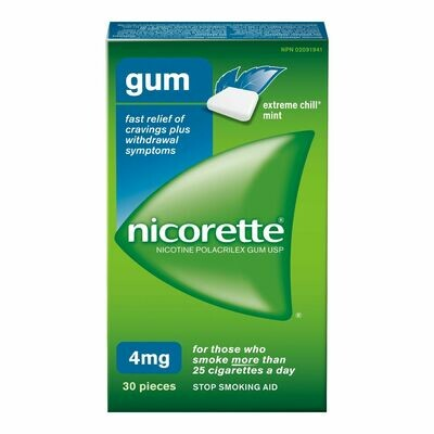 Nicorette Gum, Extreme Chill Mint, 4mg (30 Pieces)