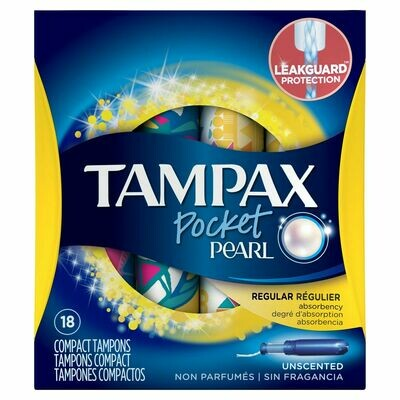 Tampax Pocket Pearl Regular Absorbency Compact Tampons Unscented 18