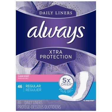 Always Xtra Protection Daily Liners Regular 46 Count