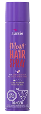 Aussie Mega Hold Hairspray with Jojoba & Sea Kelp, 396 g