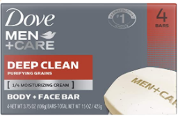 Dove Men +Care Body & Face Bar, Deep Clean, 4 barsx90G