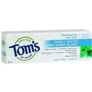 Tom's of Maine Simply White Peppermint Natural Whitening Fluoride-Free Toothpaste 85ML