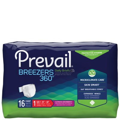Prevail Breezers 360° Ultimate Absorbency Briefs X 1  CASE