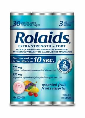 Rolaids Extra Strength Fruit Flavoured Antacids 3x10 Tablets