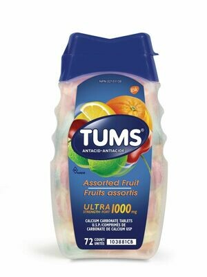 Tums Ultra Strength 1000mg Antacid Assorted Fruit x 72