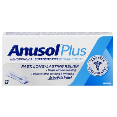 Anusol Plus Hemorrhoidal Suppositories x12
