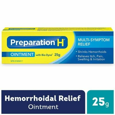 Preparation H® Multi-Symptom Hemorrhoid Treatment Ointment with Bio-Dyne, 25g Tube