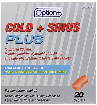 Option+ COLD & SINUS PLUS TABLETS 20