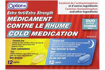 Option+ COLD DAY & NIGHT COMBO 500MG 12+12 [Generic Tylenol Sinus]