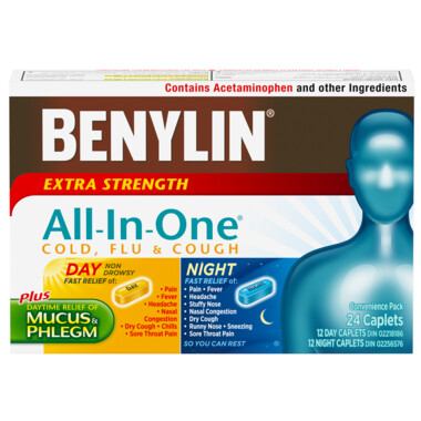 Benylin All-In-One Extra Strength Cold Flu & Cough Caplets x24
