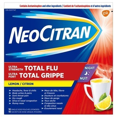 NeoCitran Ultra Strength Total Flu Night Lemon x10