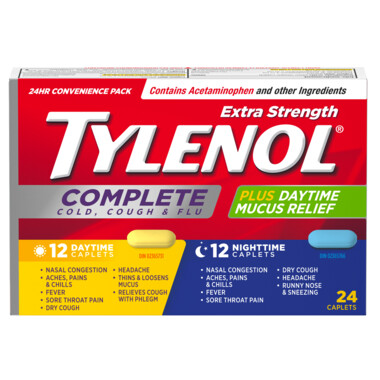 Tylenol Extra Strength Complete Cold, Cough & Flu + Mucus Relief Daytime/Nighttime Caplets x24