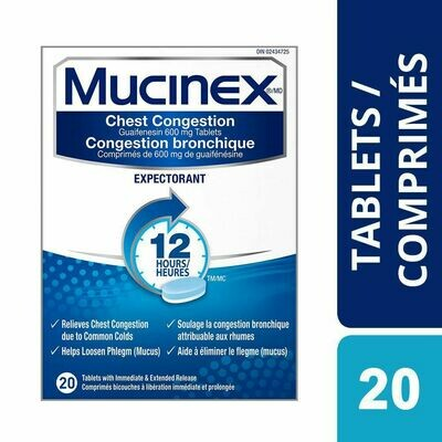 Mucinex® Chest Congestion Guaifenesin 600 mg Tablets Expectorant