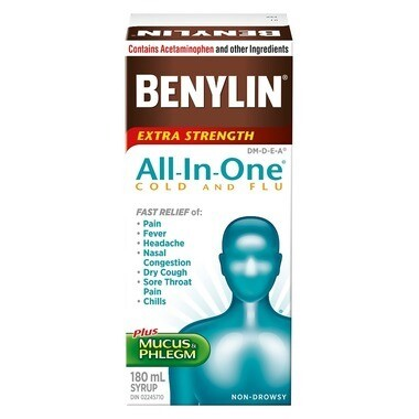 Benylin All-In-One Extra Strength Cold & Flu Daytime Syrup 180ML