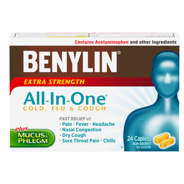 Benylin All-In-One Extra Strength Cold & Flu Daytime Caplets x24