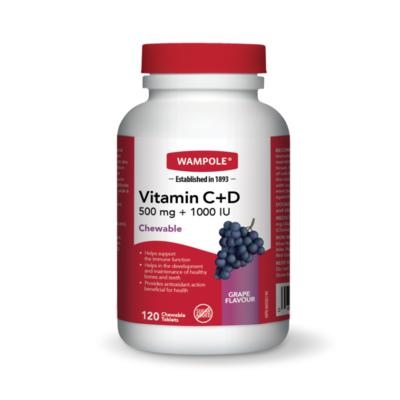 Wampole VITAMIN C+D – CHEWABLE Grape x120