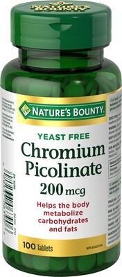 Nature's Bounty Chromium Picolinate 200mcg x100