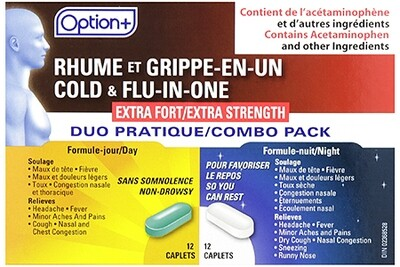 Option+ COLD AND FLU IN EXTRA STRENGTH ONE DAY & NIGHT 24