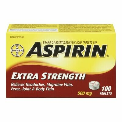 Aspirin Extra Strength 500mg, count 100