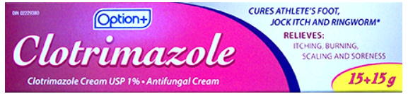 Option+ CLOTRIMAZOLE CREAM 1% 30 grams (Generic Canesten)