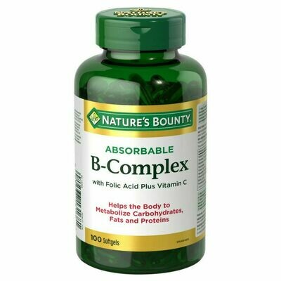 Nature's Bounty Absorbable B-Complex with Folic Acid plus Vitamin C, Count 100