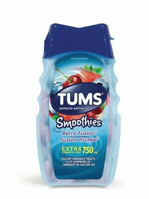 Tums Extra Strength 750mg Smoothies Antacid Berry Fusion x 60